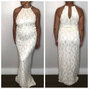 R&M Richards White Sequin Maxi Halter Dress